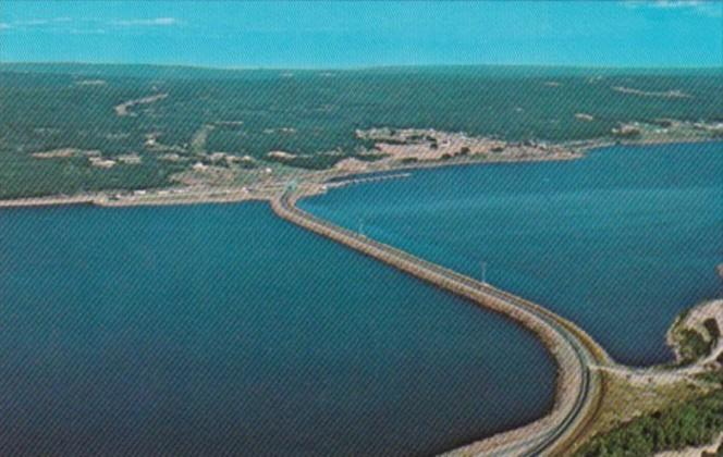 Canada Aerial View Of Canso Causeway Looking Towards Cape Breton Nova Scotia