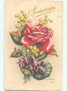 foreign 1942 Postcard signed BEAUTIFUL ASSORTED FLOWERS AC3309
