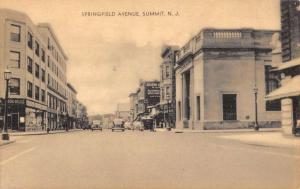 Summit New Jersey Springfield Avenue Street Scene Antique Postcard K81772