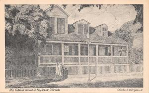KEY WEST FLORIDA~OLDEST HOUSE~DUVAL ST~CHARLES C THOMPSON ARTIST POSTCARD 1930s