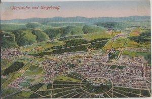 KARLSRUHE & UMGEBUNG Germany - AERIAL VIEW of area 1910s era / PRE WW II view