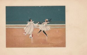 Art Deco ; Pierrot Clown Couple dancing , 1900-10s , M.M.VIENNE