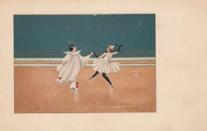 Art Deco ; Pierrot Clown Couple dancing , 1900-10s , M.M.VIENNE