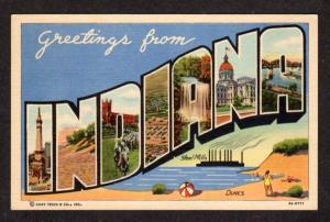 IN Greetings From INDIANA Lg Large Letter Linen Postcard PC IND