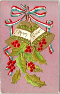Vintage A MERRY CHRISTMAS Embossed Postcard Gold Bells / Holly - 1908 Cancel