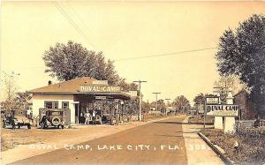Lake City FL Duval Camp Gas Station Bus Station Old Cars RPPC Postcard