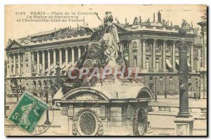 Old Postcard Paris Concorde Square statue of Strasbourg and the Automobile Cl...