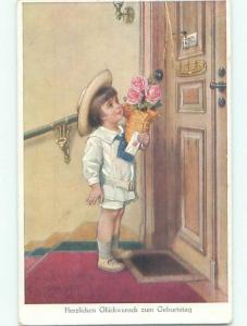 Pre-Linen foreign GERMAN BOY DELIVERS PINK ROSE FLOWERS FOR BIRTHDAY k1314