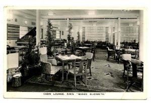 Cunard Line - RMS Queen Elizabeth,  Cabin Lounge   *RPPC  (crease)