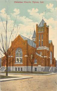 A74/ Tipton Indiana In Postcard c1910 Christian Church Building
