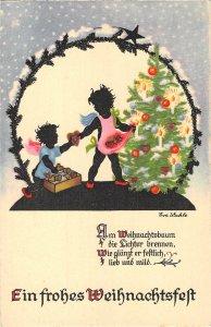 US3428 Ein frohes Weihnachtsfest Christmas Children Art Nouveau Artist signed