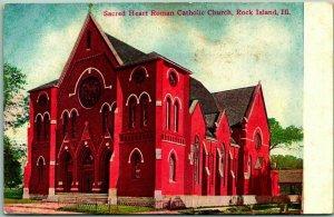 1910s Rock Island IL Postcard Sacred Heart Roman Catholic Church Street View