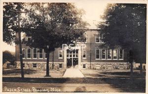 Michigan Mi Real Photo RPPC Postcard c1910 READING Public School Building