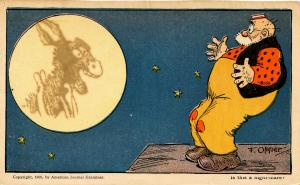 Humor - Is this a nightmare? (Image of horse in the moon).  Artist: F. Opper