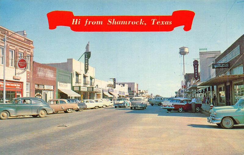 Shamrock TX Main Street View Texas Movie Theatre Old Cars Postcard