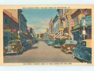 Unused Linen OLD CARS & SHOPS ON LOUDON STREET Winchester Virginia VA Q8859-13