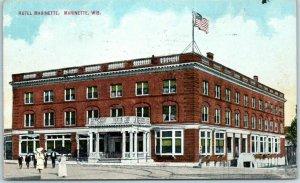 Marinette, Wisconsin Postcard HOTEL MARINETTE Street View U.S. Flag 1911 Cancel