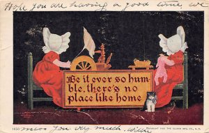 There's no place like home Girls sewing Sun Bonnet 1907