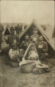 Ethnic Children Military Soldier Tents Eating Food Stars on Lapels WHERE? RPPC