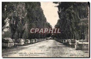 Old Postcard Arles Alyscamps Allee Des Tombs