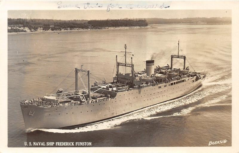 US Navy Ship Frederick Funston~Military Sea Transportation Service~SEE NOTE~RPPC