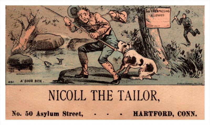 13227    Trade Card  Fisherman Line in Tree   CT  Hartford  Nicoll the Tailor