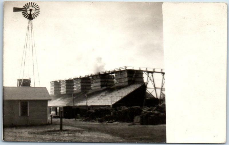 Vintage RPPC Real Photo Postcard FARM SCENE Grain Storage Windmill c1910s Unused