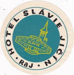 Czechoslovakia Raj Hotel Slavie Jicin Vintage Luggage Label sk4471