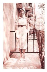 Honeymoon in Paris, young woman pose at Hotel 1937 Nostalgia Reprint