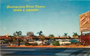 Autos 1950s Sacramento California Postcard Town Country Shopping Roberts 1770