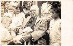 F27/ Animal RPPC Photo Postcard c1910 Dog Old Man Lap 5