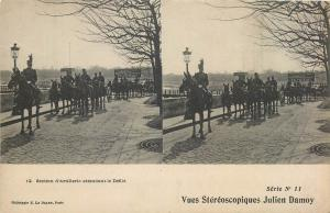 Stereographic stereo view military artillery section waiting for the parade