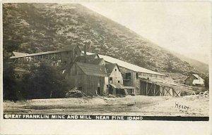 ID, Pine, Idaho, RPPC, Franklin Mine & Mill, Gold Mining, 1907 PM, Helm Photo