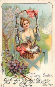 4851   Easter, Woman with a basket,  rabbit inside