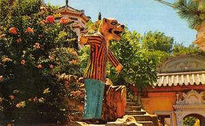 Hong Kong China Tiger Balm Garden Tiger Man Statue Vintage Postcard JD933756