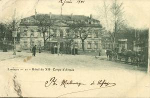 france, LIMOGES, Hotel du XII Corps d'Armee (1901) Stamp