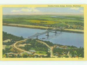 Unused Linen BRIDGE SCENE Natchez Mississippi MS HQ9917