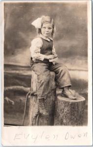 RPPC WRIGHTS,  CA California  CUTE GIRL Evelen Owen  1912  Santa Clara Co DPO