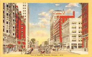 Louisville Kentucky~View Of Broadway~1940 Postcard