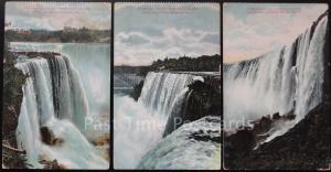 USA: 3 x NIAGARA FALLS - Horseshoe Falls & America Falls - Old Postcard