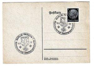 P1264 1939 WWII germany nazi swastika history postcard special cancel st. pankow