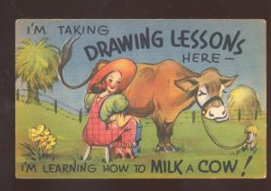 TAKING DRAWING LESSONS MILK A COW WOMAN FARMER VINTAGE COMIC POSTCARD