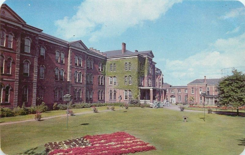 Erie Pennsylvania~Soldiers and Sailors Home~Flag Flower Bed 1950s Postcard