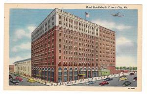 MO Kansas City Missouri Hotel Muehlebach Airplane Vintage Postcard Linen