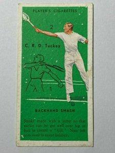 CIGARETTE CARD - PLAYERS TENNIS #48 BACKHAND SMASH  C.R.D TUCKEY   (UU65)
