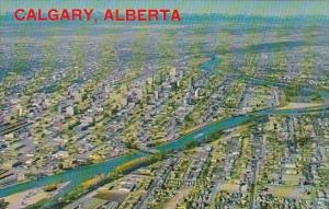 Canada The Bow River Winds Through The Heart Of Calgary Alberta