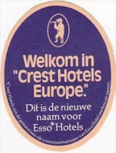 EUROPE CREST HOTELS VINTAGE LUGGAGE LABEL