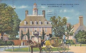 Royal Governor's Palace And Colonial Coach Williamsburg Virginia 1938