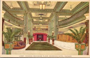 Vtg Postcard Morrison Hotel Lounge and Rest Room Chicago ILL IL Illinois H Moir