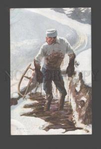 3086345 WINTER SPORT Dirty Man on SLED by O. MERTE old COMIC PC